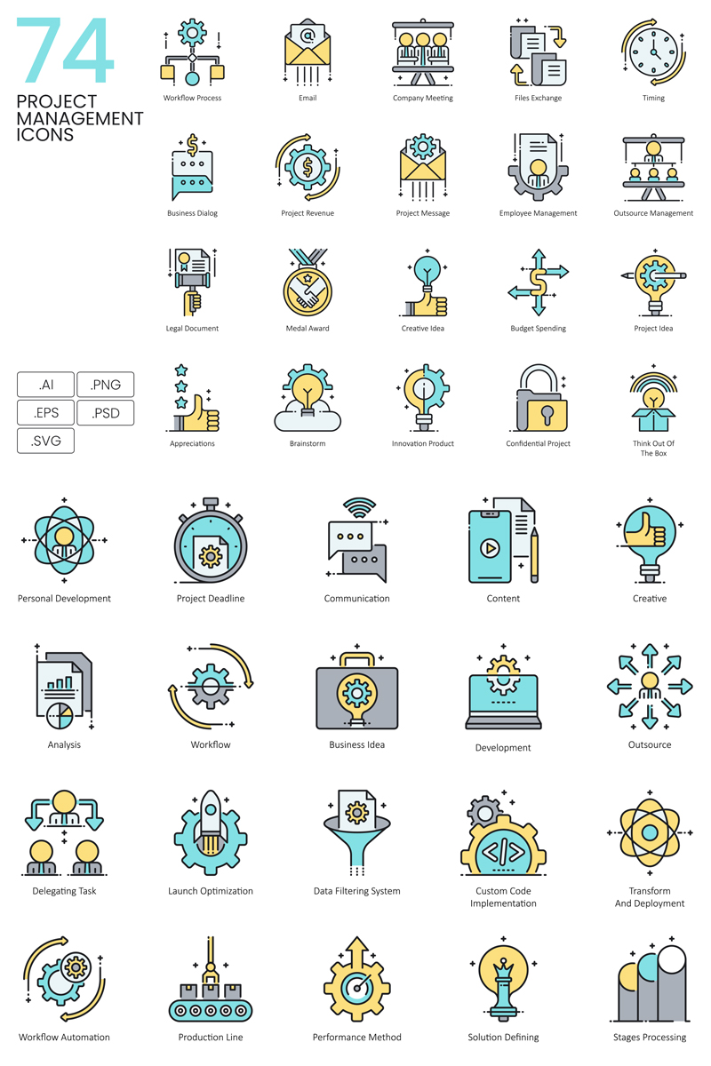 74 Project Management Icons - Aqua Series Ikon csomag sablon 89619