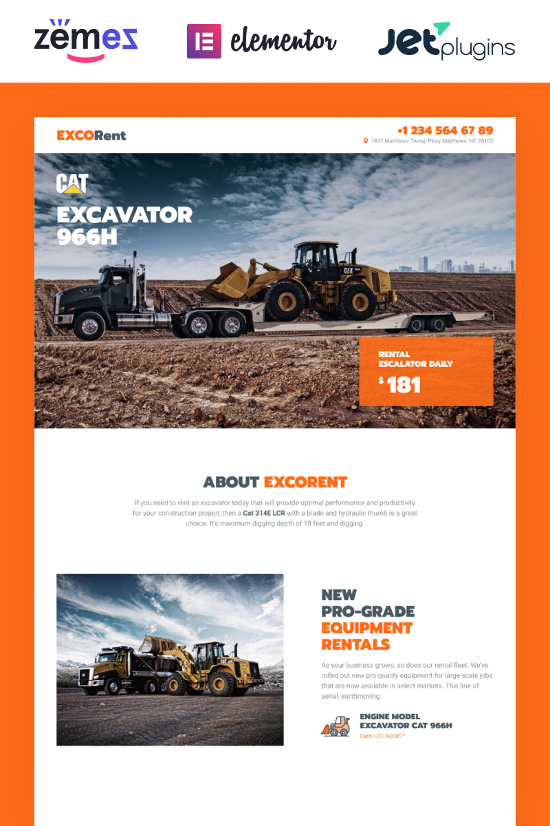 Responsivt ExcoRent - Equipment Rental Template for Strong Landing Page WordPress-tema #89664
