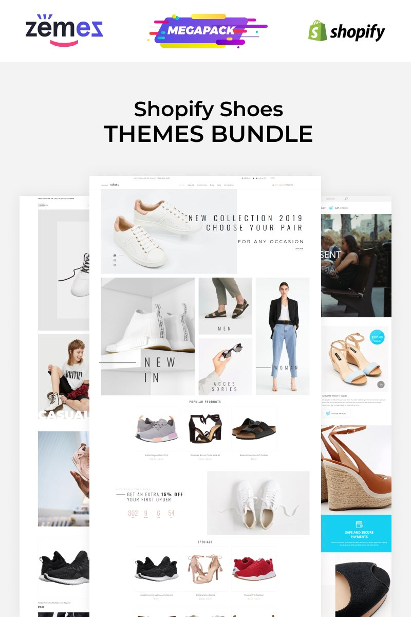 """""""Shoes Store Templates"""" 响应式Shopify模板 #89652 - 截图"""