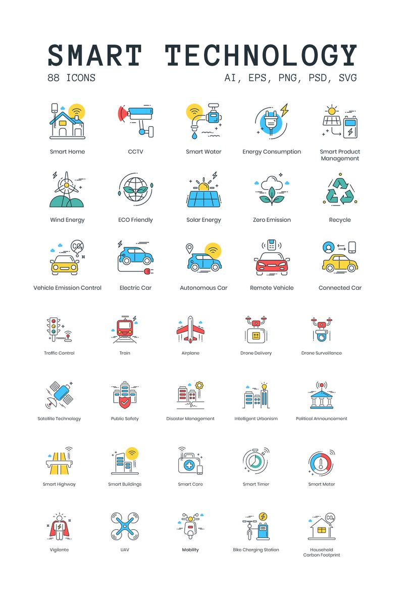 """88 Smart Technology Icons - ColorPop Series"" 图标集模板 #89629"