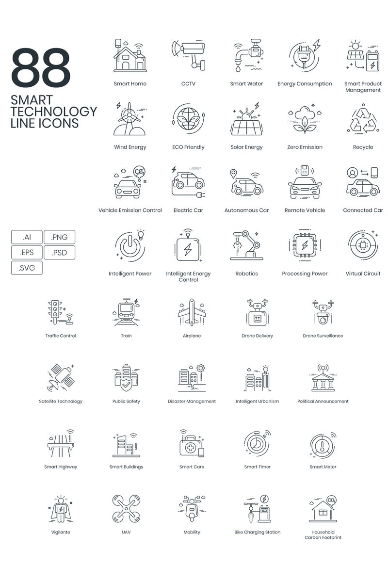 """""""88 Smart Technology Line Icons"""" Iconset template №89628"""