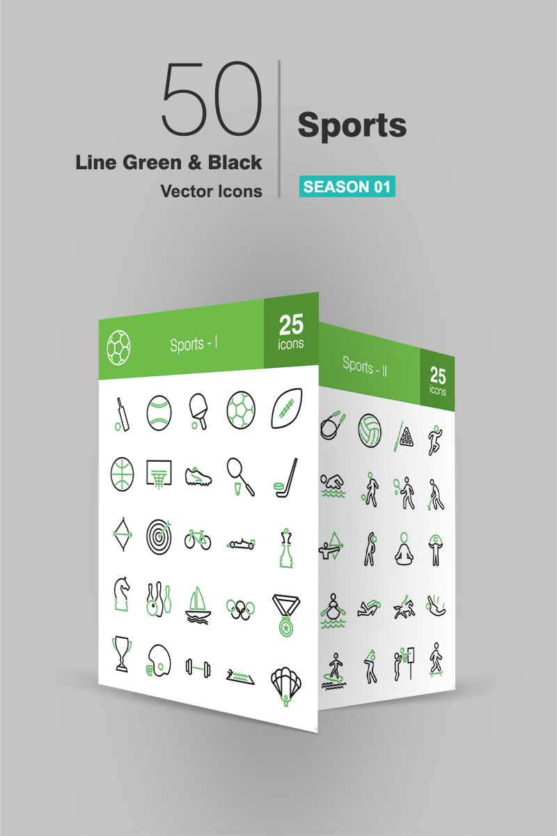"""50 Sports Line Green & Black"" 图标集模板 #89659"