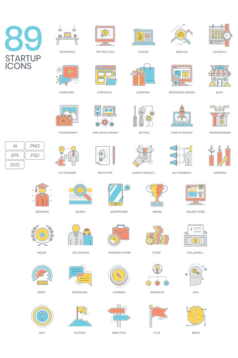 89 Startup Icons - ColorLine Series Iconset Template