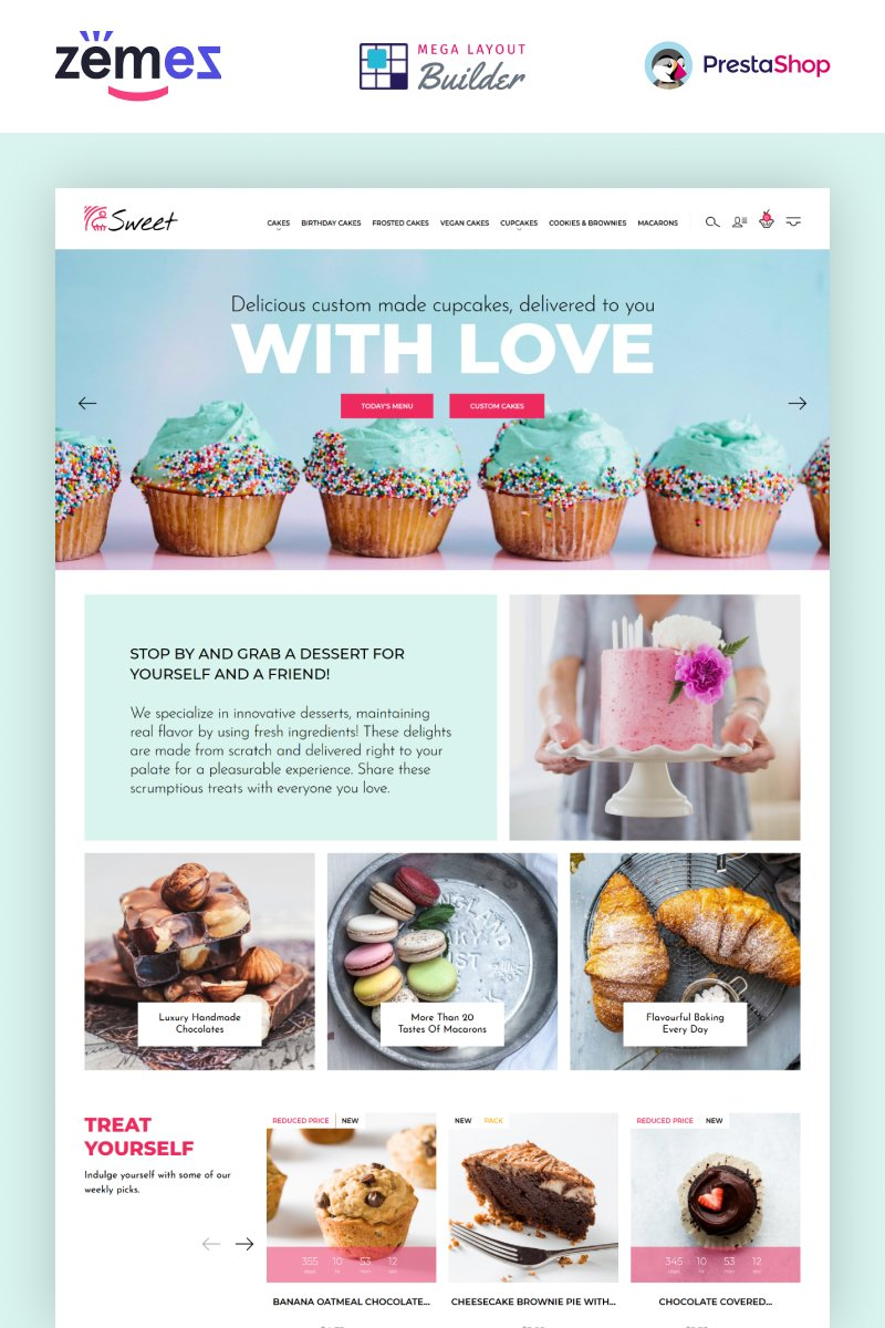 """Sweet Dreams - Cake Shop PrestaShop Template"" thème PrestaShop adaptatif #89662"