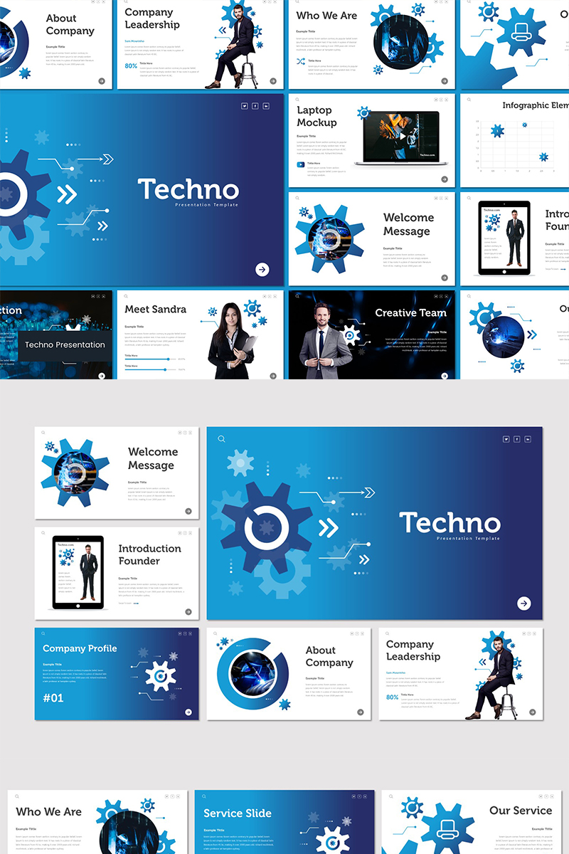 Techno PowerPoint sablon 89603