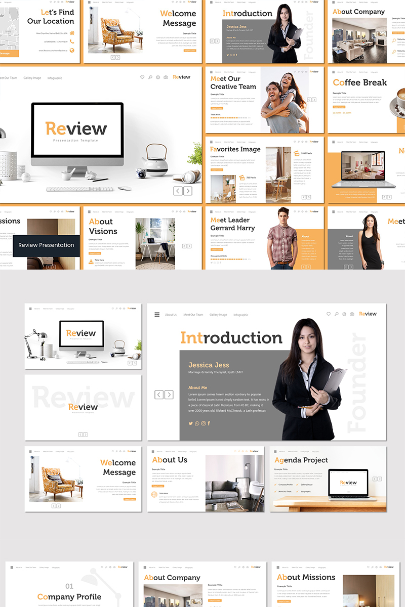 """Tema PowerPoint #89607 """"Review"""""""