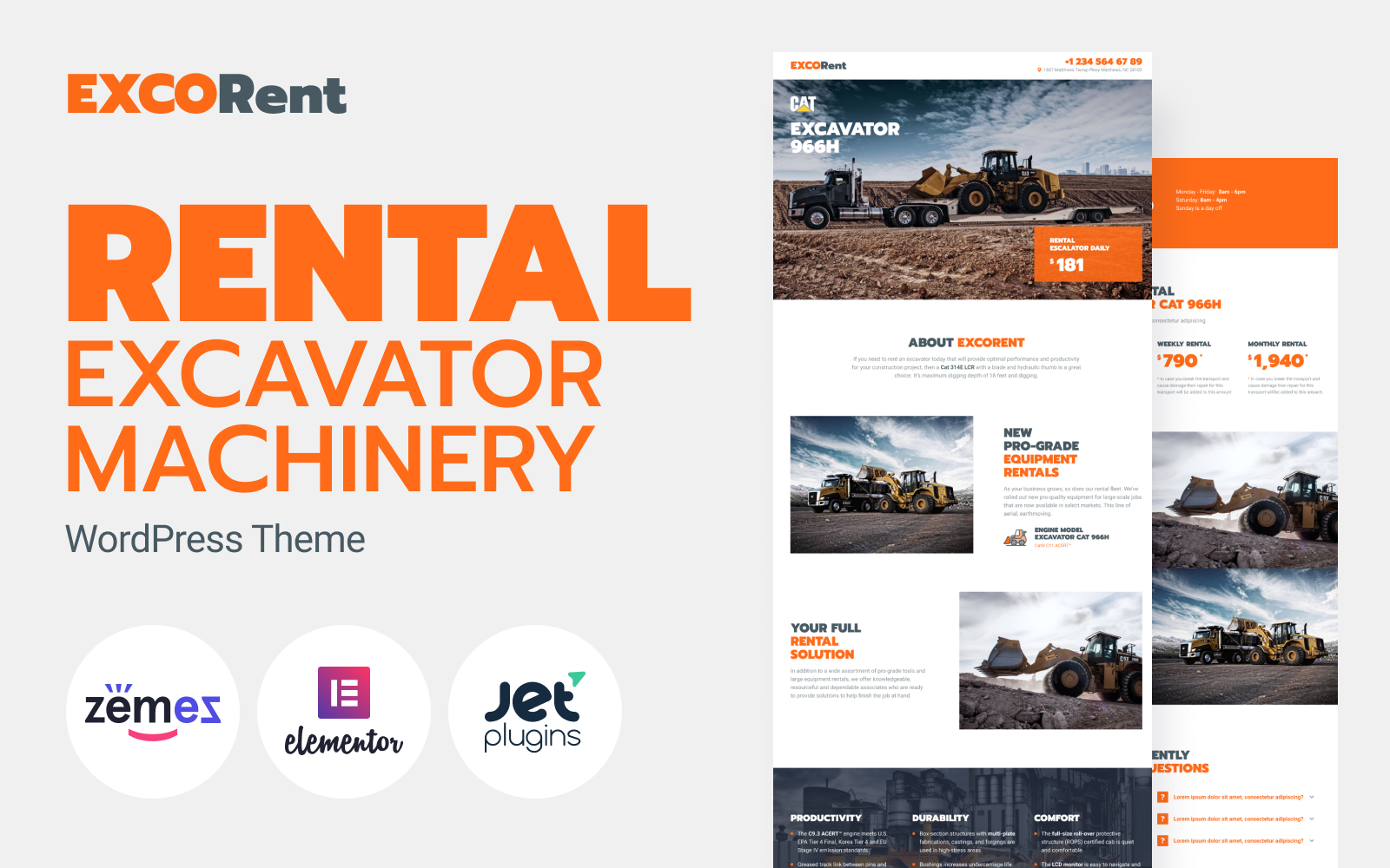 """Tema WordPress Responsive #89664 """"ExcoRent - Equipment Rental Template for Strong Landing Page"""""""
