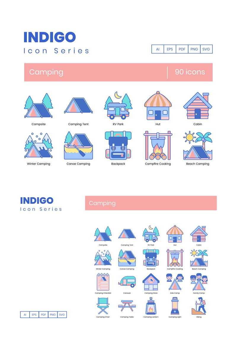 "Template Pacchetto Icone #89620 ""90 Camping Icons - Indigo Series"""
