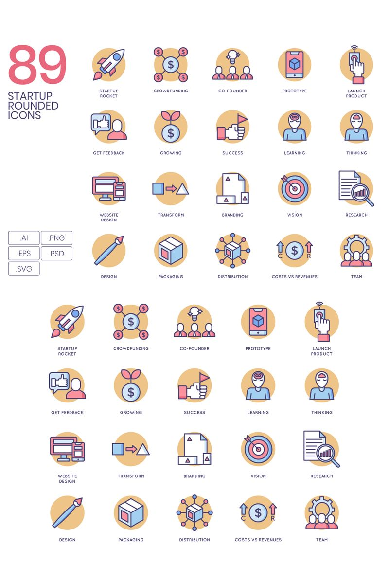 "Template Pacchetto Icone #89626 ""89 Startup Icons - Butterscotch Series"""