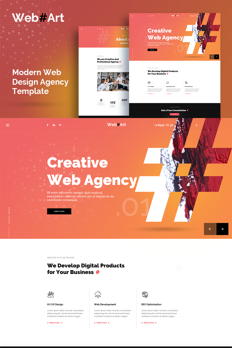 """WebArt - Web Design Simple Creative"" PSD Template №89651"