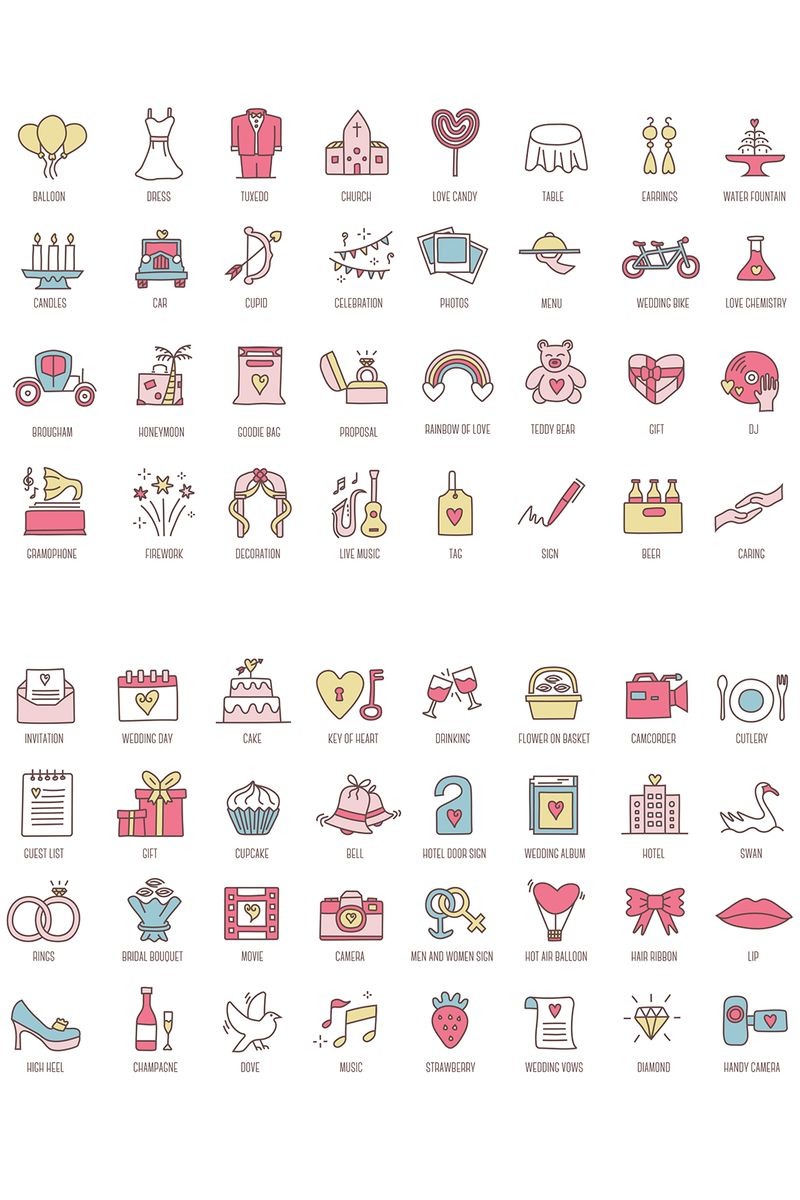 """""""88 Wedding Colored Icons"""" Iconset template №89623"""