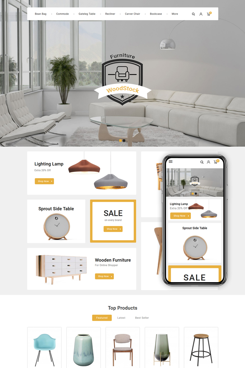 """WoodStock - Home Decor Store"" thème PrestaShop adaptatif #89683"