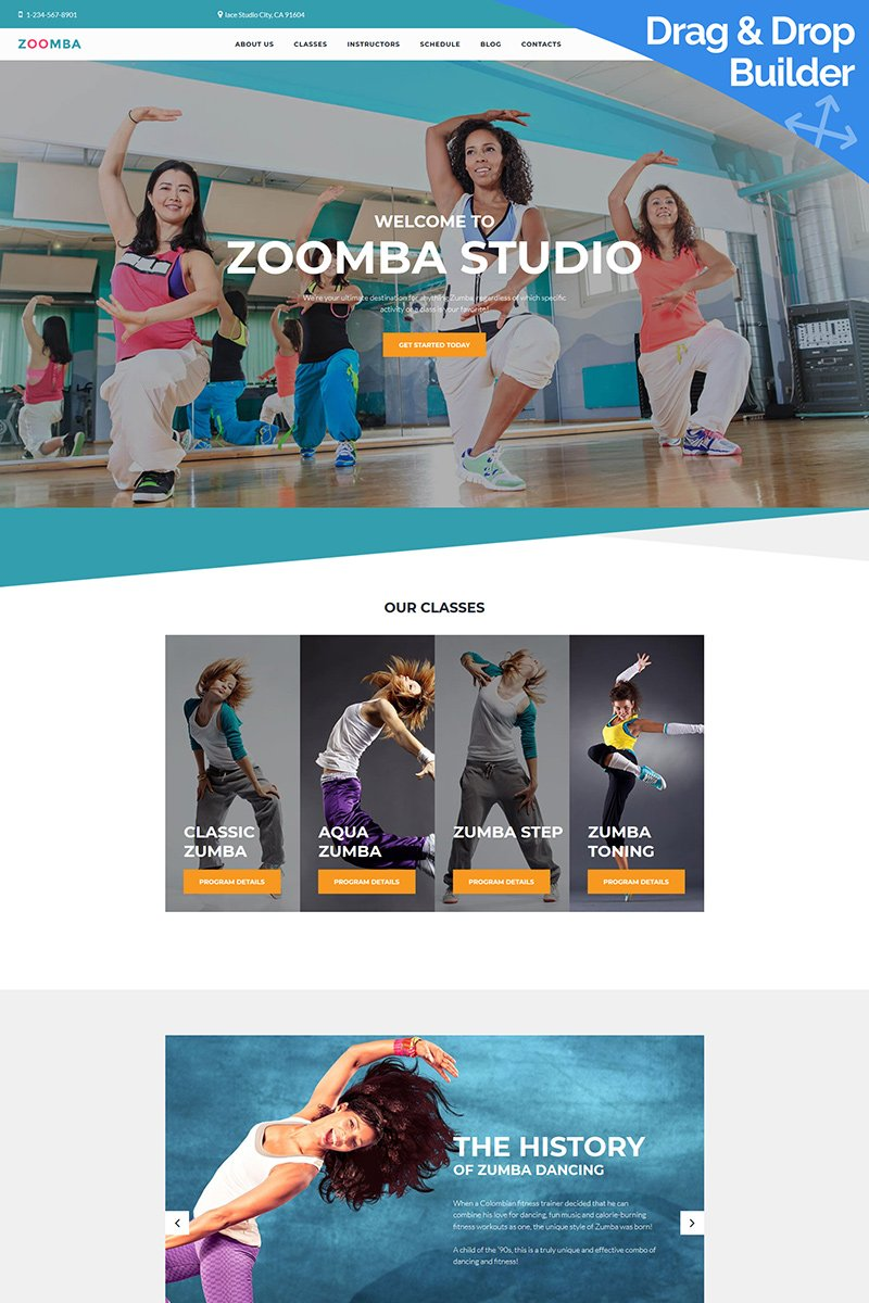 Zoomba Dance Studio Moto CMS 3 Template - screenshot