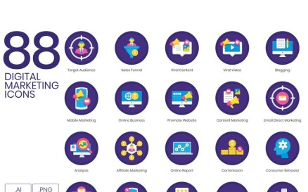 88 Digital Marketing Icons - Orchid Series Icon Set