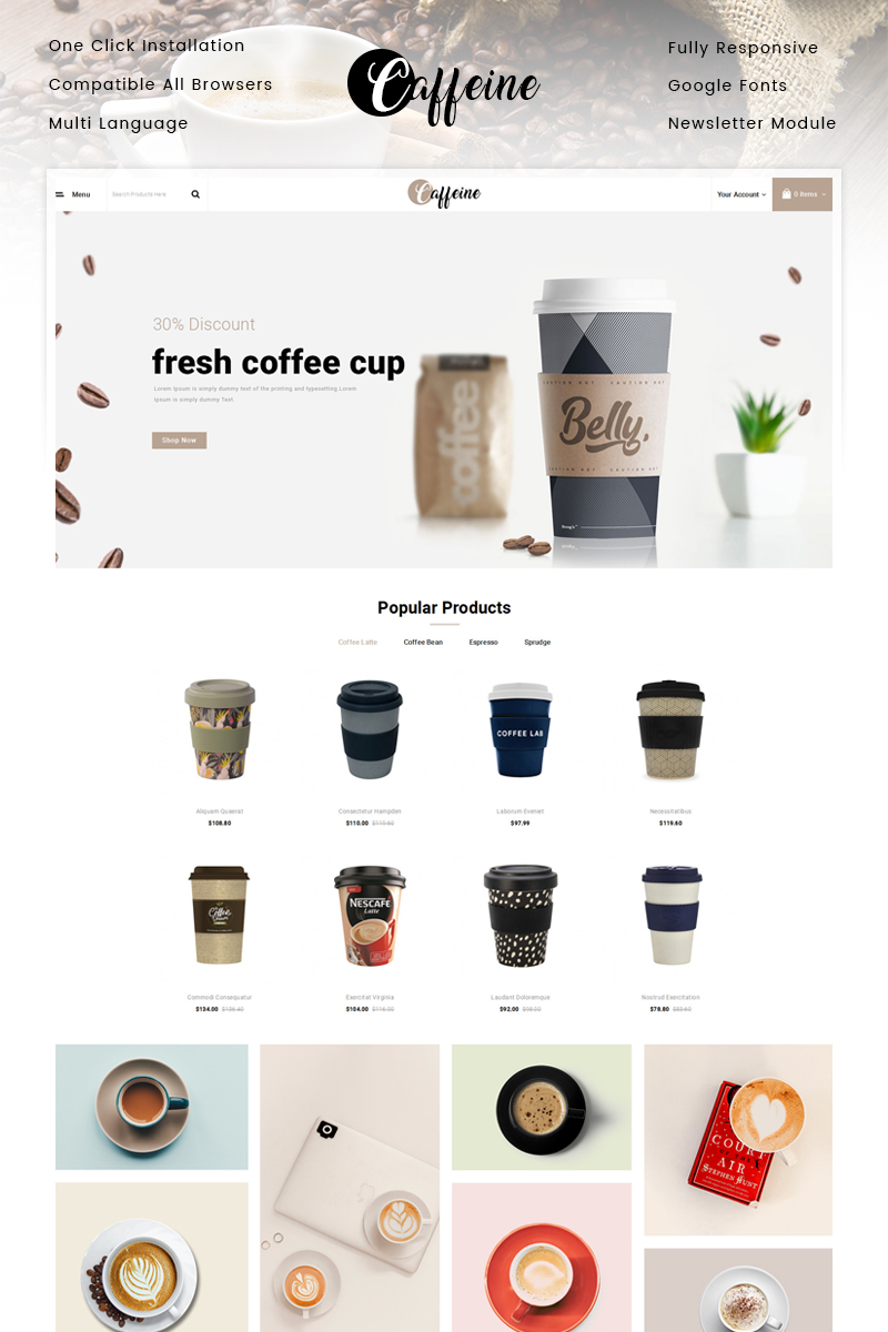 """Caffeine - Coffee Store"" Responsive OpenCart Template №89725"