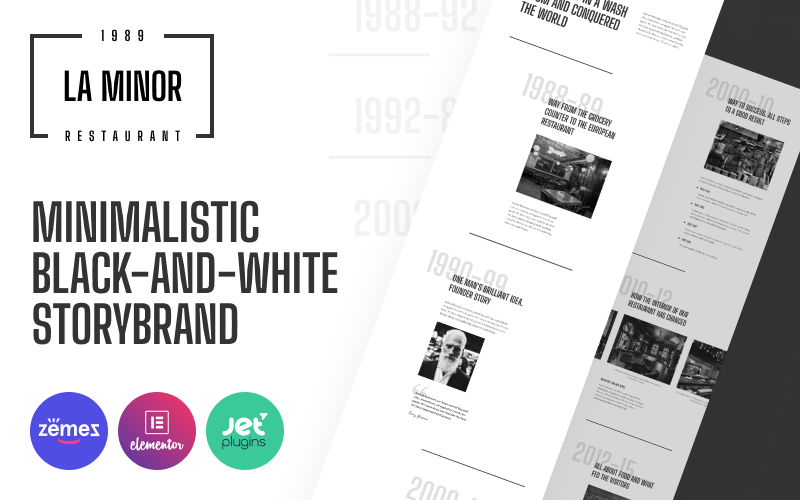 Responsivt La Minor - Minimalistic Black-and-white Storybrand WordPress-tema #89766
