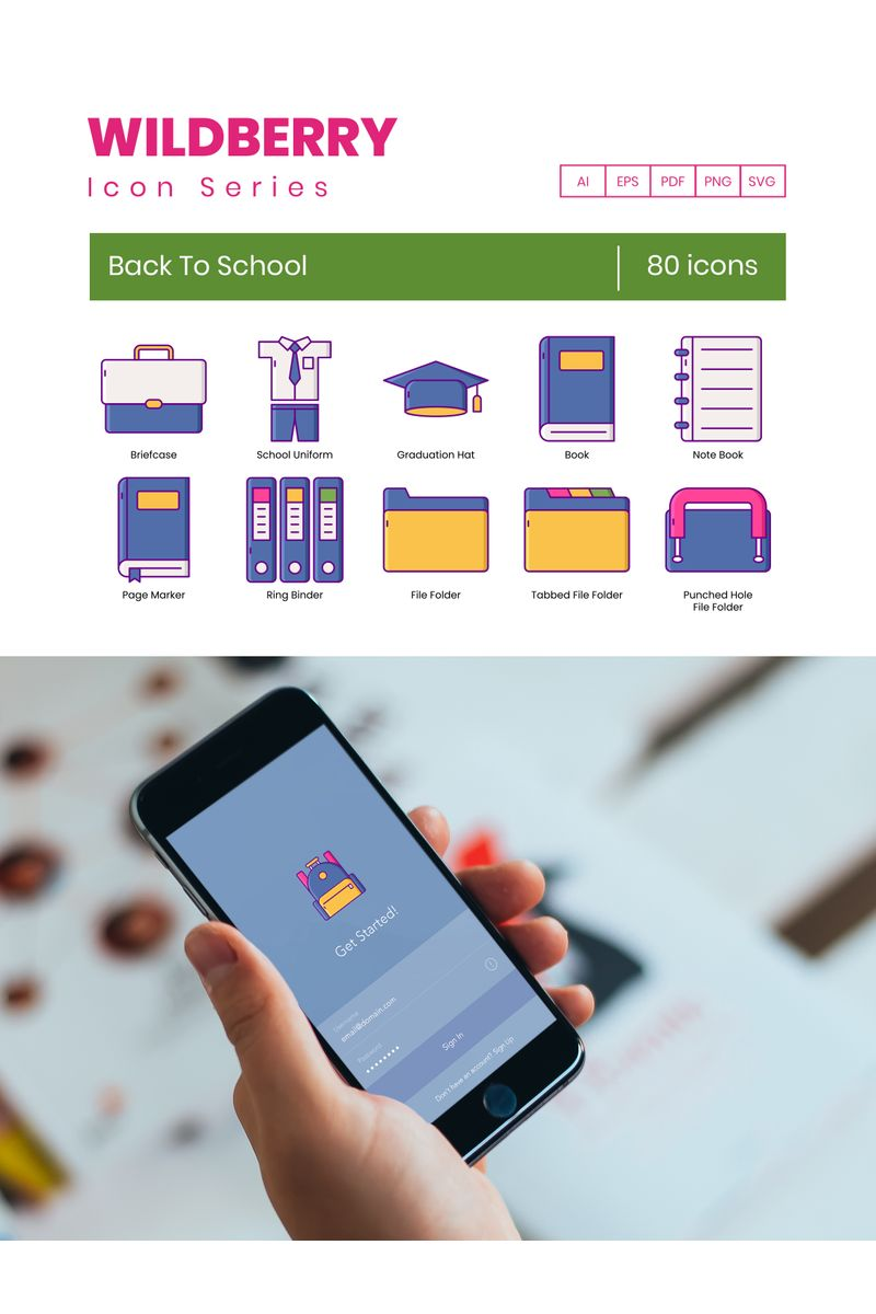 80 Back To School Icons - Wildberry Series Ikon csomag sablon 89826