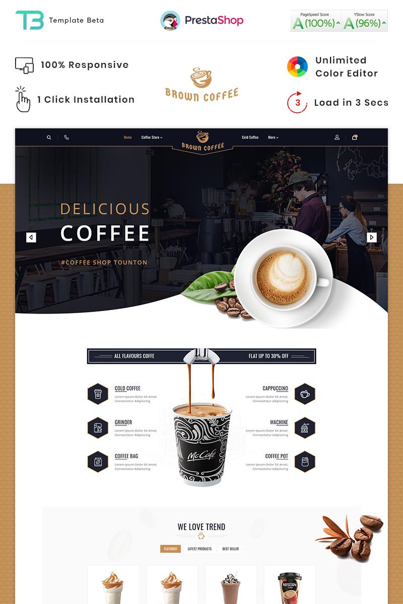 """Brown Coffee - The Coffee"" - адаптивний PrestaShop шаблон №89832"