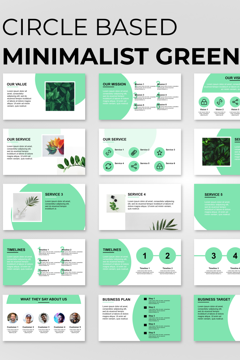 Circle Based Minimalist Green Presentation PowerPoint Template - screenshot