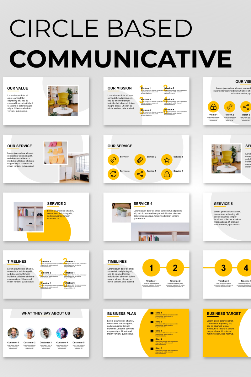 """Circle Based Minimalist Presentation"" PowerPoint Template №89839"
