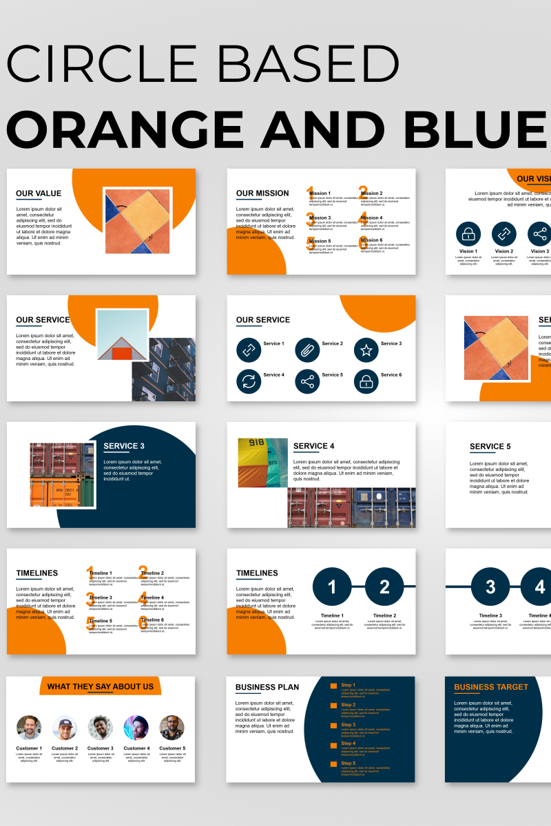 """Circle Based Orange Presentation"" PowerPoint 模板 #89833"