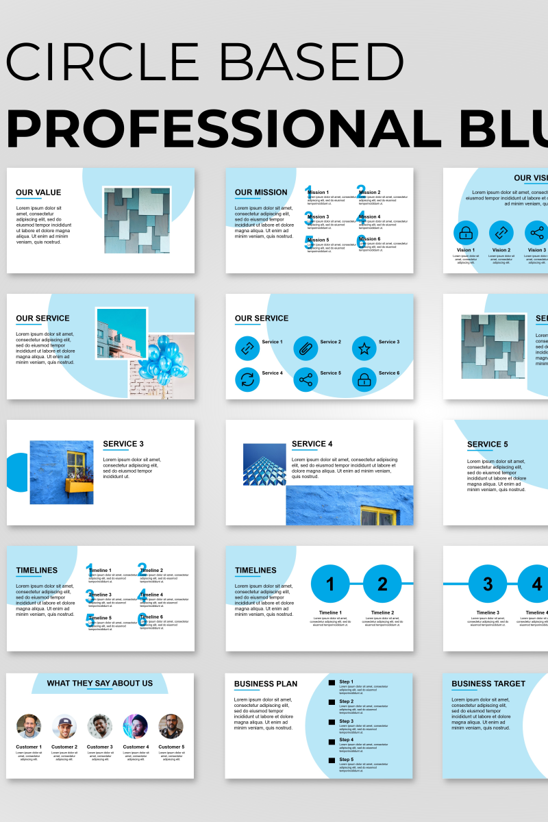 """Circle Based Professional Blue"" PowerPoint Template №89836"