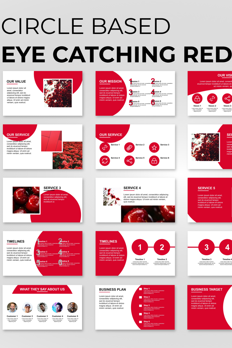 """Circle Based Red Presentation"" PowerPoint Template №89834"