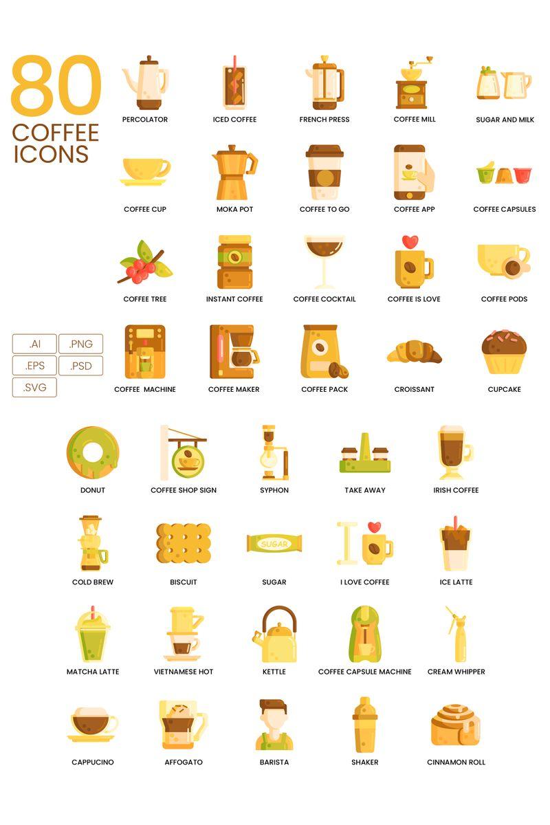 80 Coffee Icons - Caramel Series Ikon csomag sablon 89825