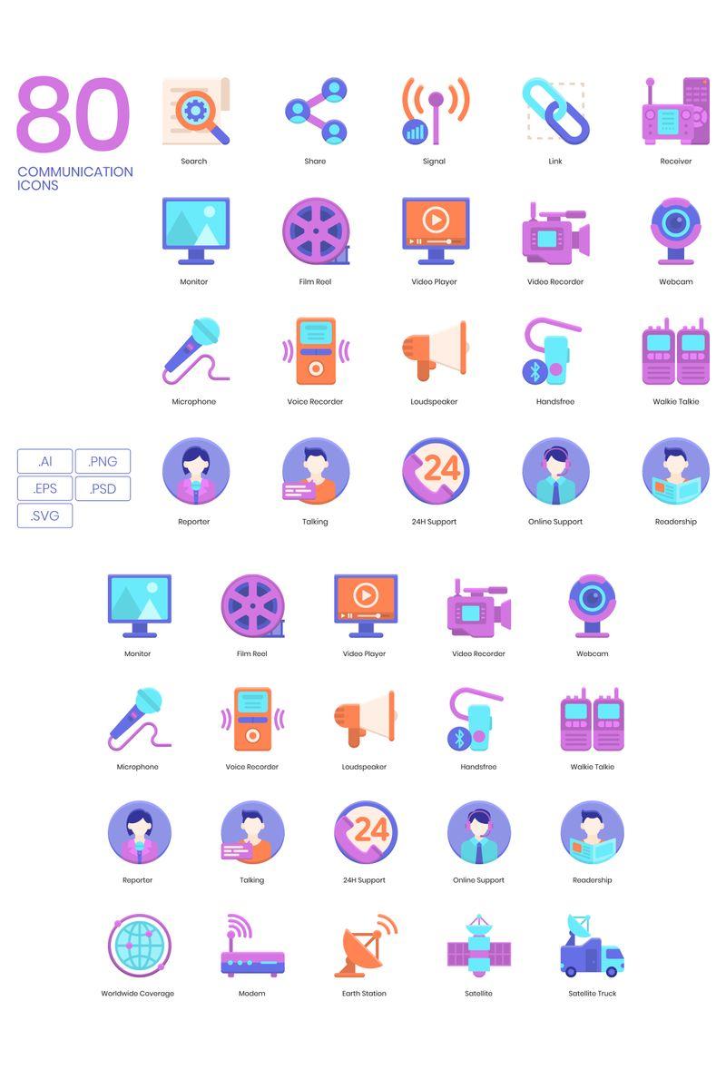 80 Communication Icons - Violet Series Ikon csomag sablon 89824