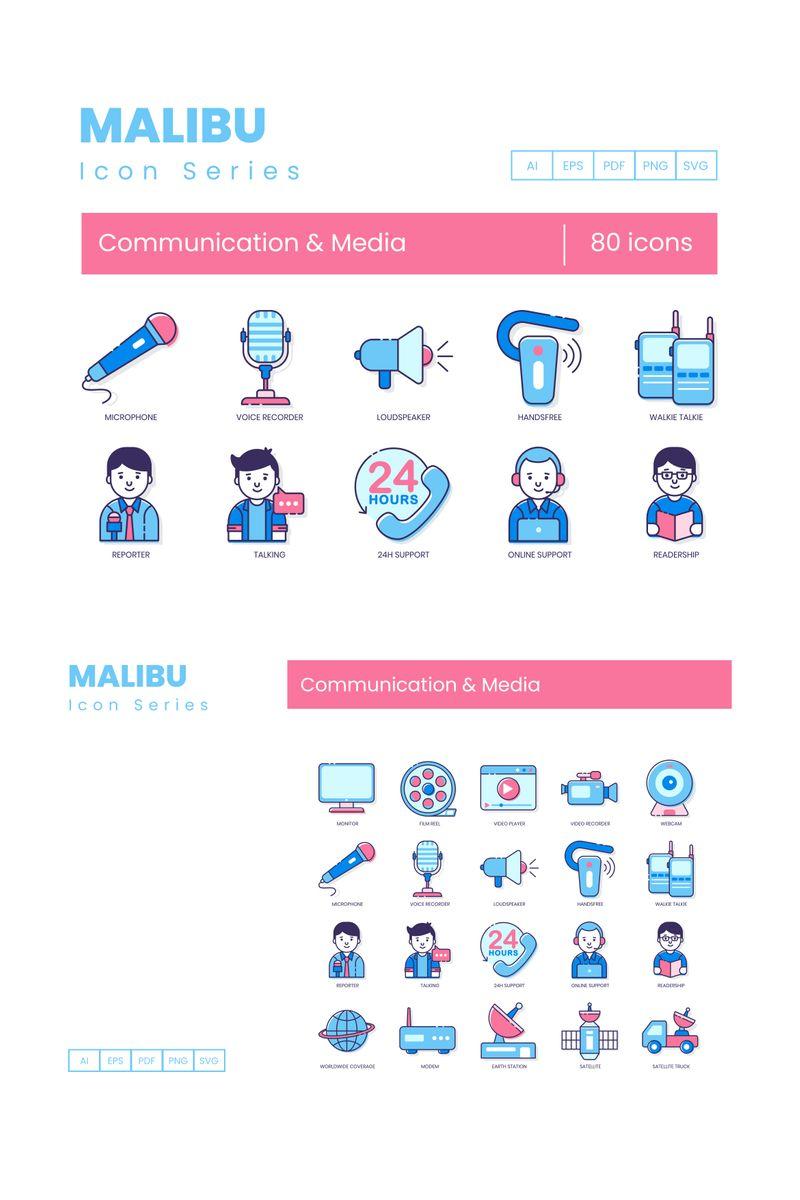 80 Communication _ Media Icons - Malibu Series Ikon csomag sablon 89823