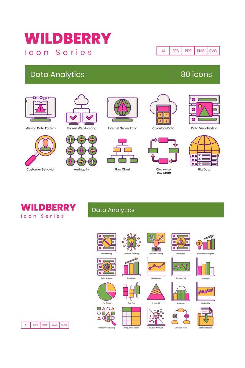 80 Data Analytics Icons - Wildberry Series Ikon csomag sablon 89822