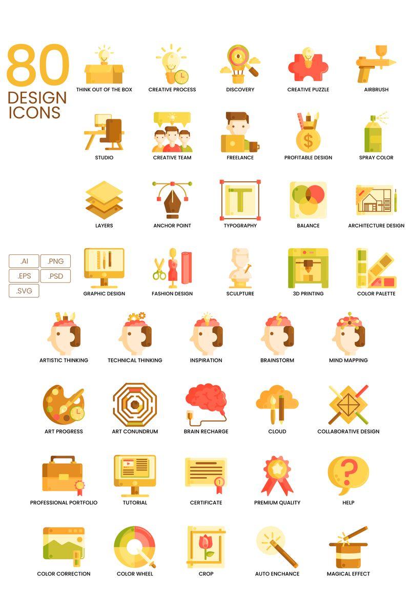 80 Design Icons - Caramel Series Ikon csomag sablon 89821