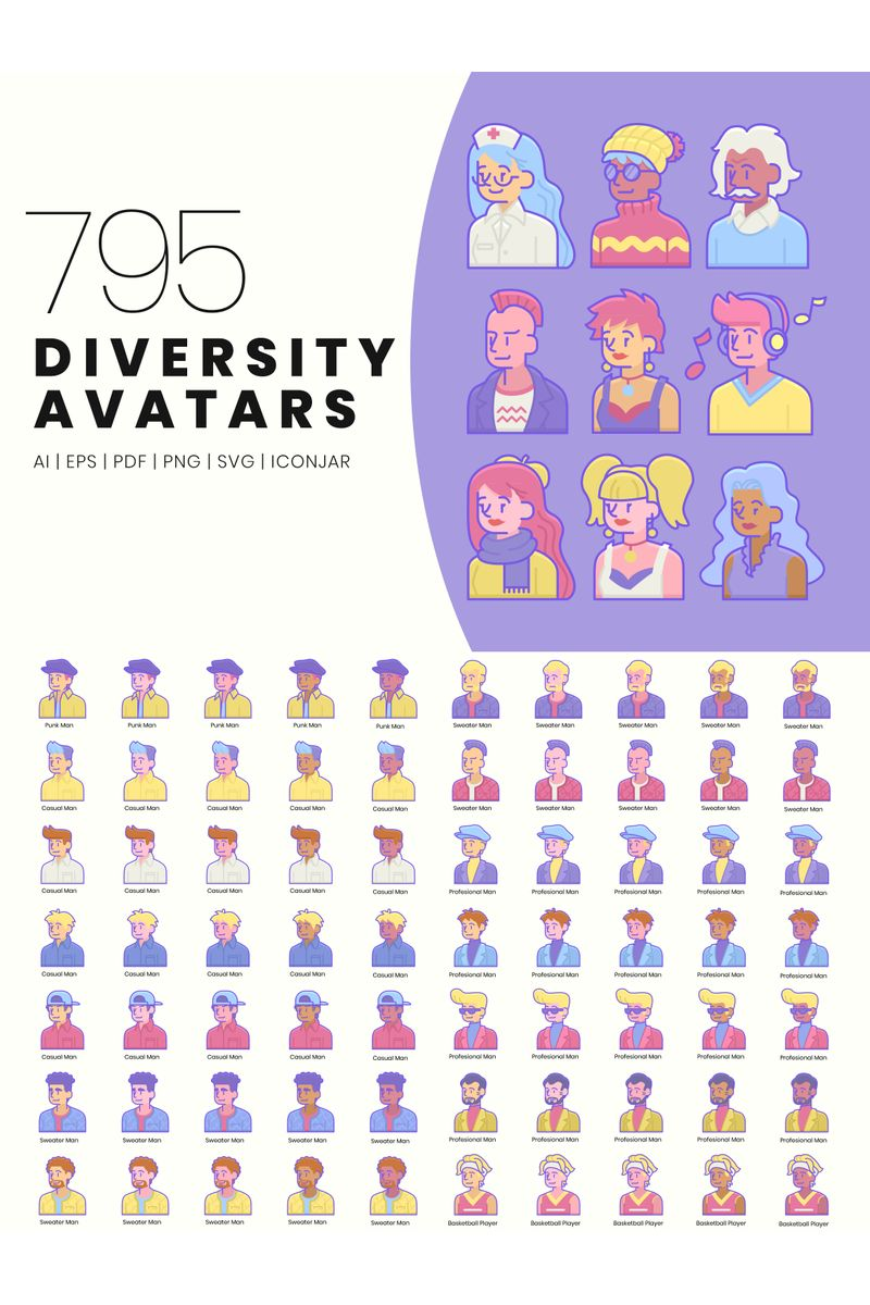 """795 Diversity Avatar Icons - Blush Series"" 图标集模板 #89828"