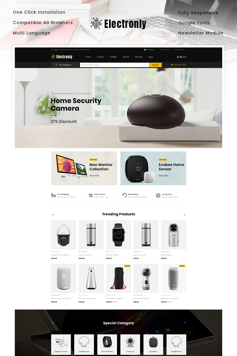 """""""Electronly - Digital Store"""" Responsive OpenCart Template №89830"""