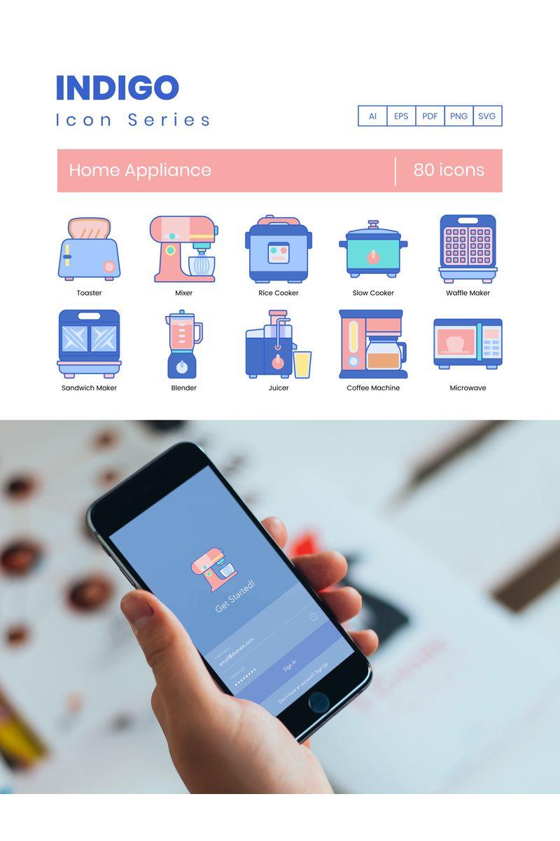 80 Home Appliances Icons - Indigo Series Ikon csomag sablon 89816