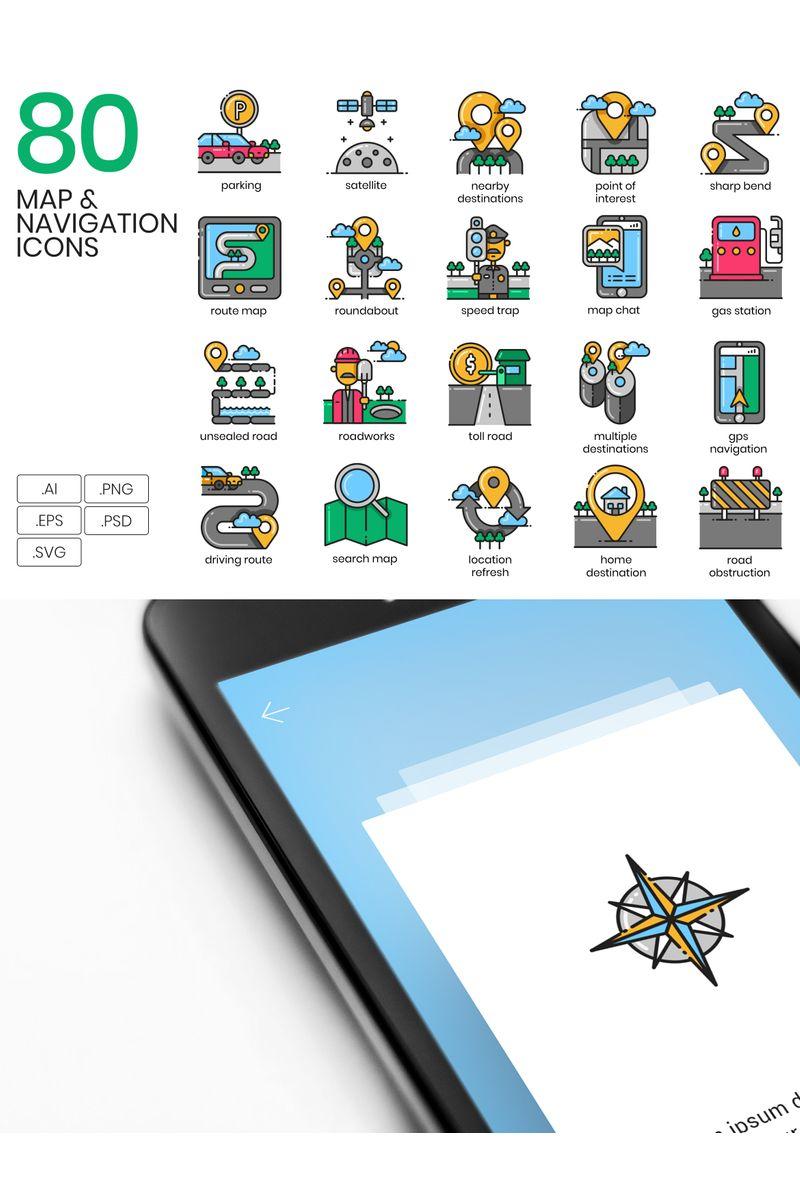 "Icon-Sammlungen Vorlage namens ""80 Map _ Navigation Icons - Aesthetic Series"" #89815"