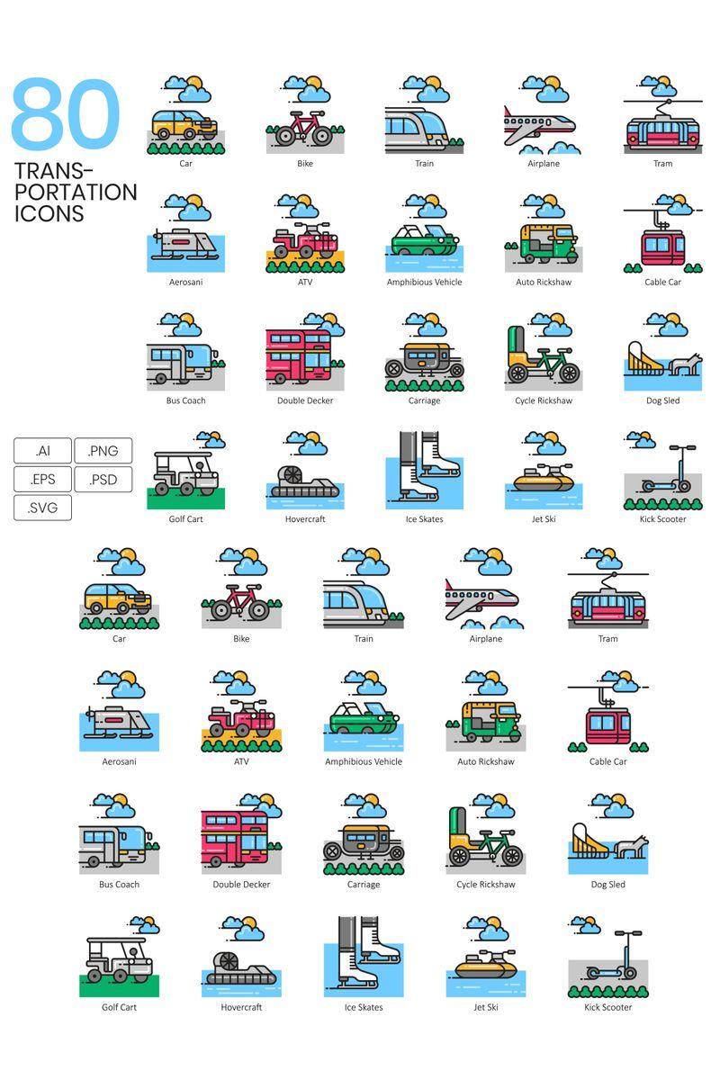 "Icon-Sammlungen Vorlage namens ""80 Transportation Icons - Aesthetic Series"" #89809"