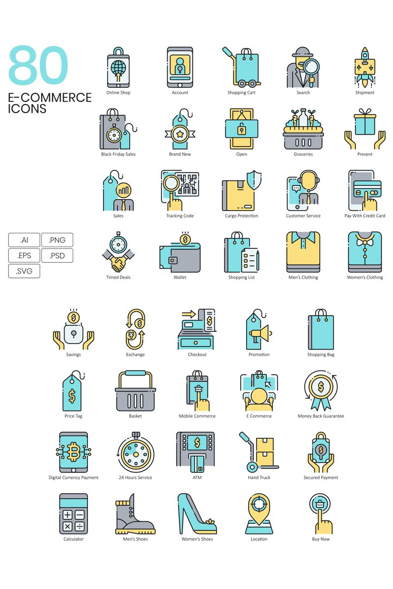 "Plantilla De Conjunto De Iconos ""80 E-commerce Icons - Aqua Series"" #89820"