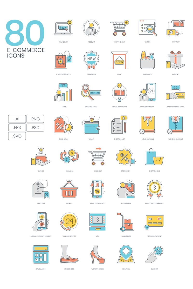 "Plantilla De Conjunto De Iconos ""80 E-commerce Icons - Color Line Series"" #89819"