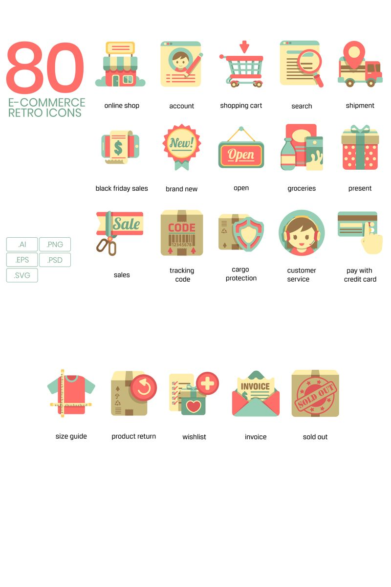 "Plantilla De Conjunto De Iconos ""80 E-commerce Icons - Retro Series"" #89818"