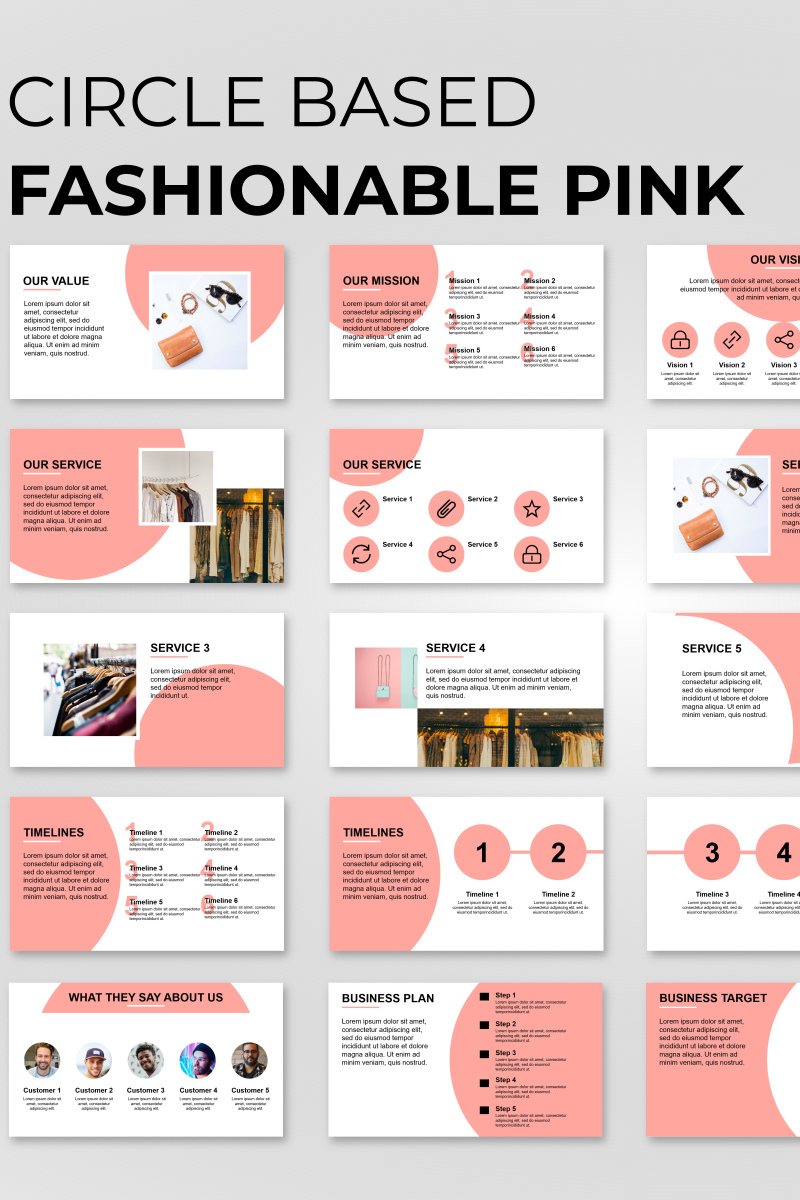 "PowerPoint šablona ""Circle Based Fashion Presentation"" #89835"