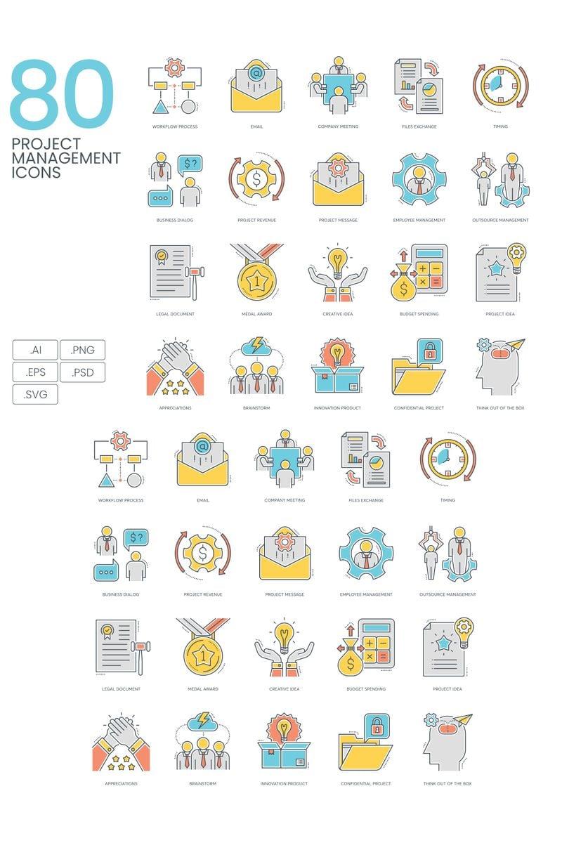 """80 Project Management Icons - ColorLine Series"" 图标集模板 #89814"