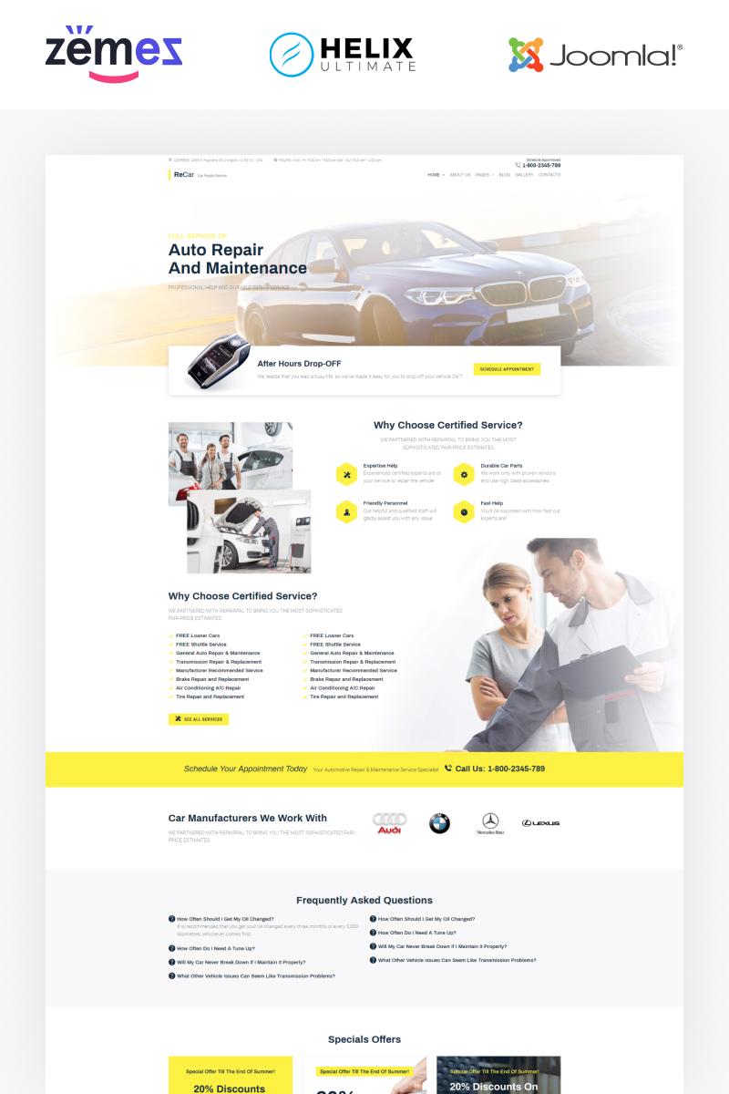 """""""ReCar - Auto Repair Multipage Clean"""" Responsive Joomla Template №89808"""
