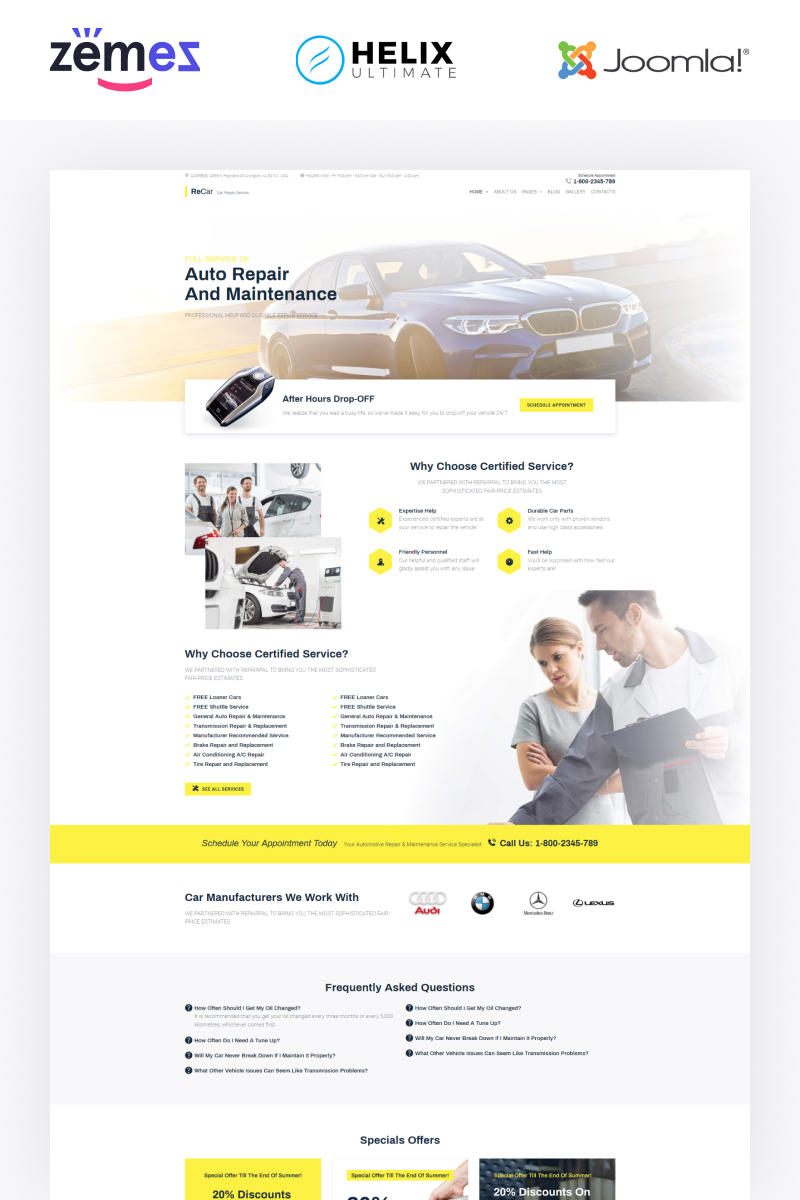 """ReCar - Auto Repair Multipage Clean"" 响应式Joomla模板 #89808"