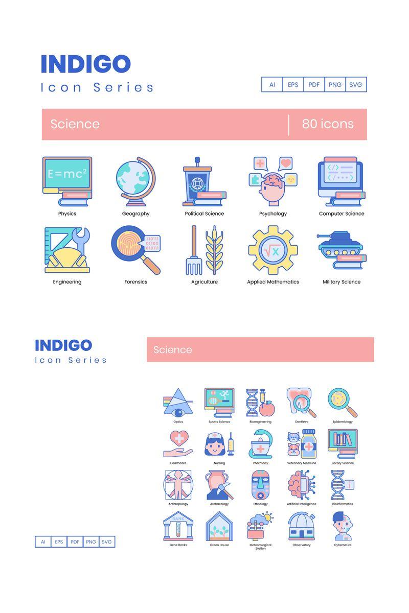 80 Science Icons - Indigo Series Ikon csomag sablon 89812