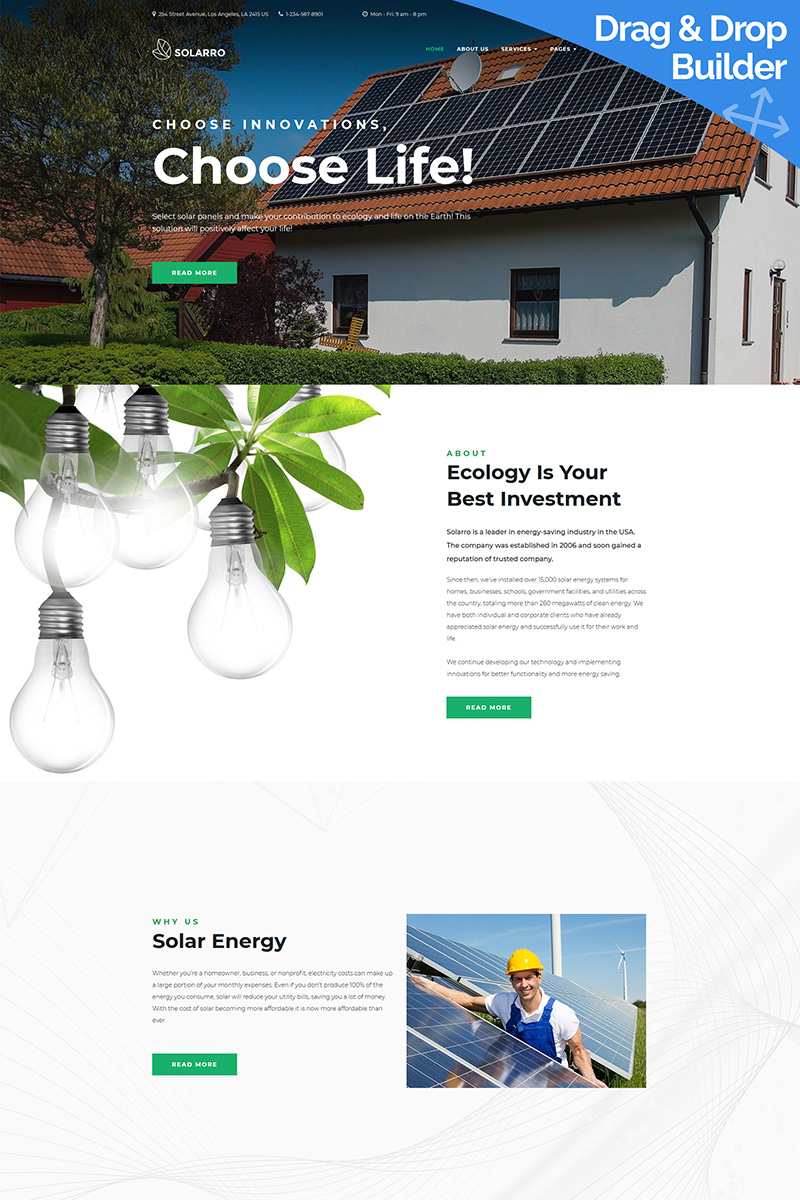 """Solarro - Solar Panel"" Responsive Moto CMS 3 Template №89807"