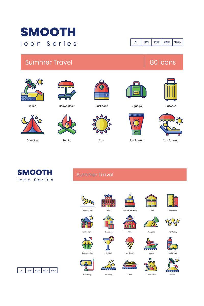 80 Summer Travel Icons - Smooth Series Ikon csomag sablon 89811