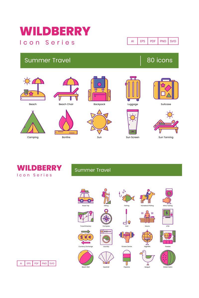 80 Summer Travel Icons - Wildberry Series Ikon csomag sablon 89810
