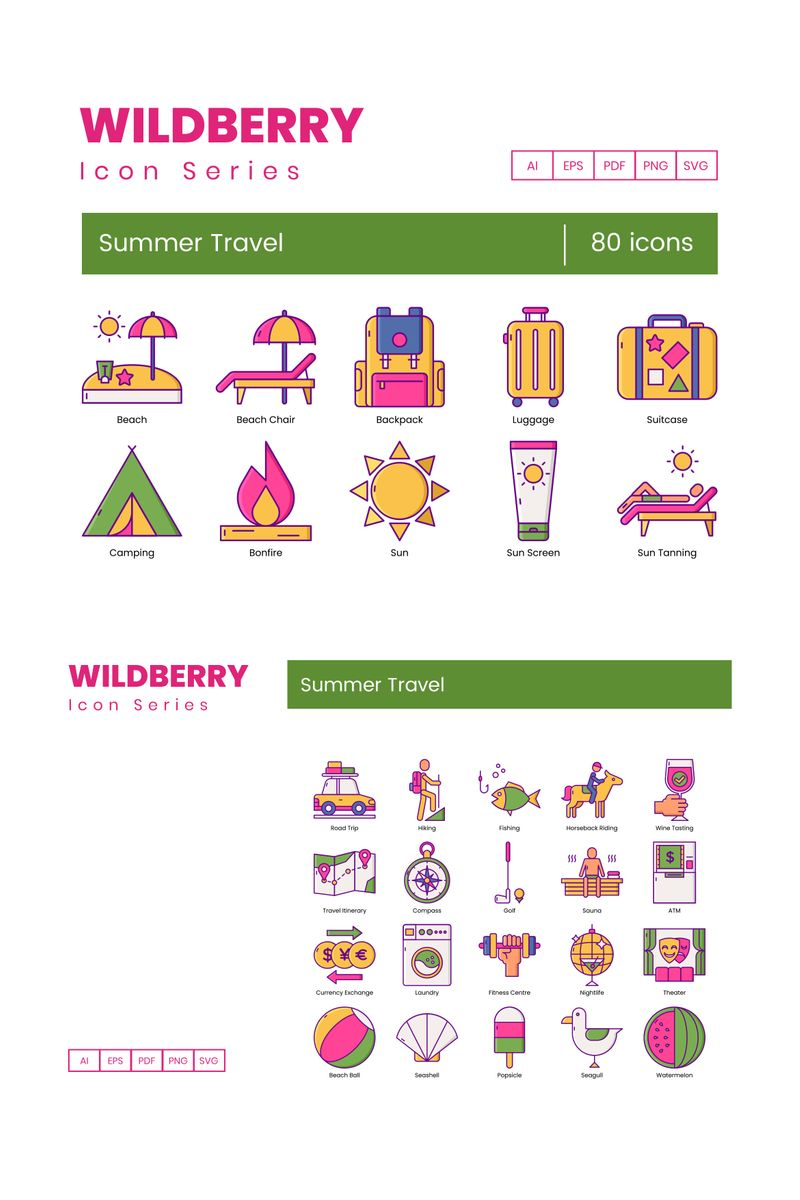 """""""80 Summer Travel Icons - Wildberry Series"""" 图标集模板 #89810"""
