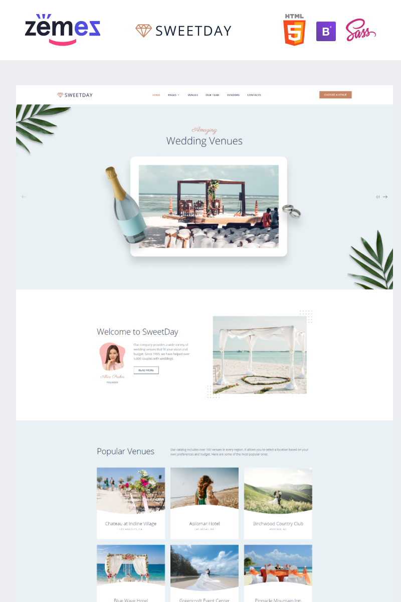 """SweetDay - Wedding Venue Agency"" modèle web adaptatif #89829"